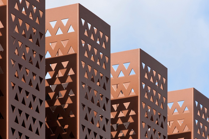 Perforated 50 mm Triangle Pattern, Carnegie Library Archive Addition, New Zealand. Architect: Architectus.