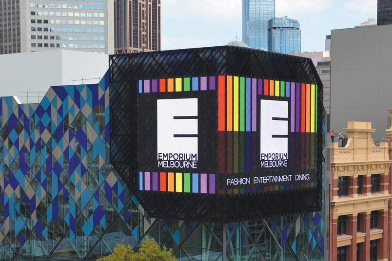 Emporium Melbourne – A giant 270 metre square light transparent LED facade, the first of its kind in Australia.